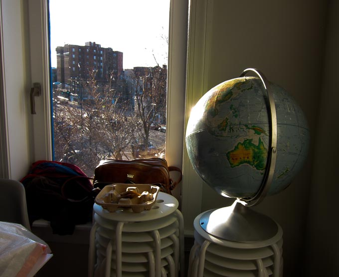 Photo of globe sitting in a window