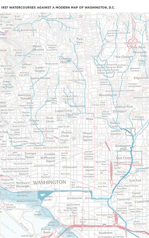 David Ramos / Lost Watercourses of D.C. on map of dc highways, map of dc transit, map of dc airport locations,